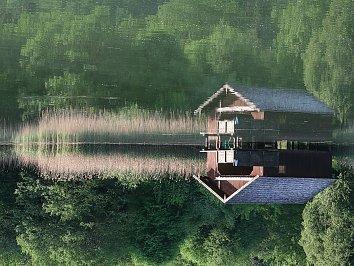Holzhuetten Hintergrundbild