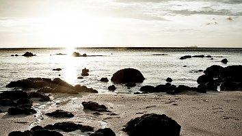 Sonnenuntergang Sand Steine Wallpaper